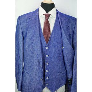 Tom Ford Fit A Bright Blue Silk Linen Woven 3 Pc